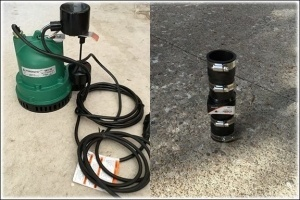 sump pump catch basin with liner and check valve